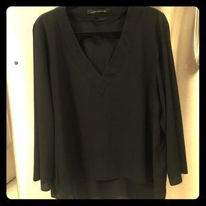 Zara Black long sleeved blouse